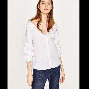 Zara - Wide open shirt off shoulder